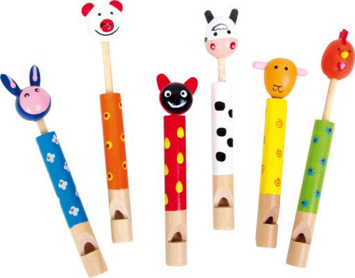 Small Foot Dětská dřevěná píšťalka Zvířátka 6 ks