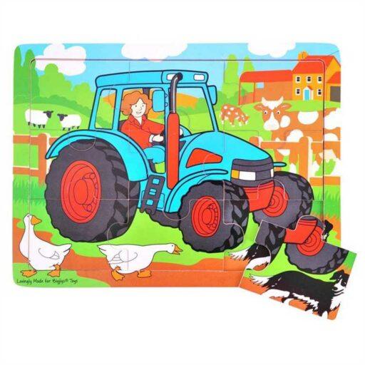 Bigjigs Toys Dřevěné puzzle traktor 9 dílků