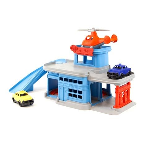Green Toys Patrová garáž modrá s příslušenstvím