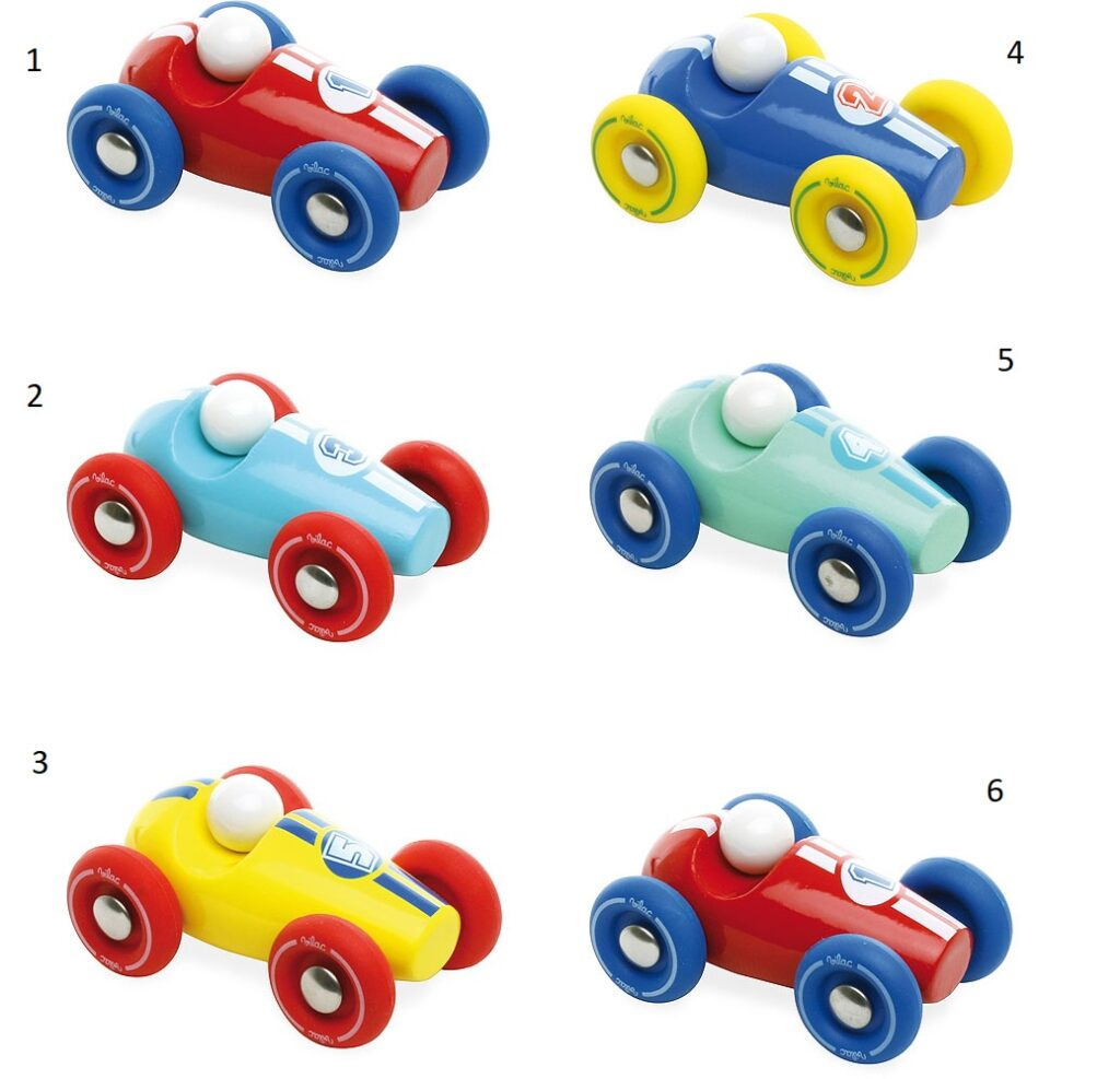 Vilac Dřevěné závodní mini auto 1 ksčervené s modrými koly