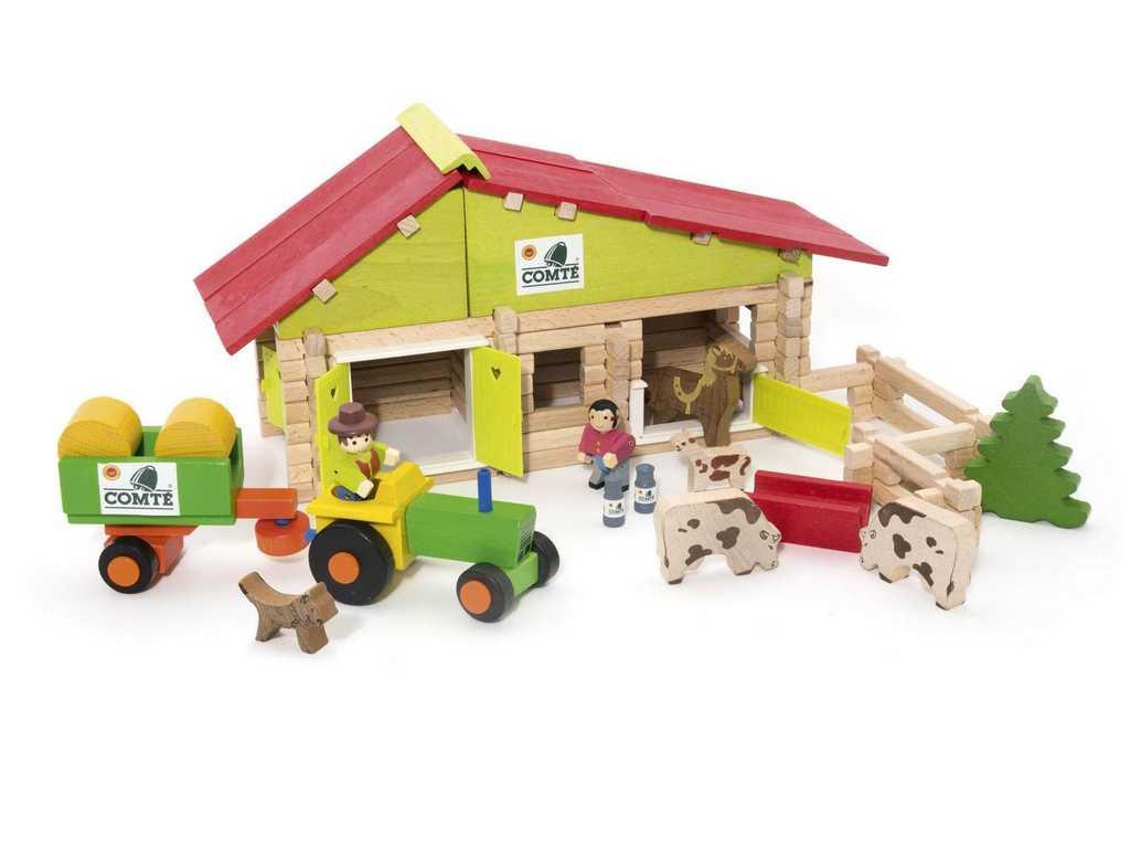 Jeujura Dřevěná stavebnice 140 dílů střední farma
