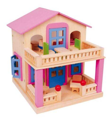 Small Foot Růžový domeček pro panenky s terasou Clara