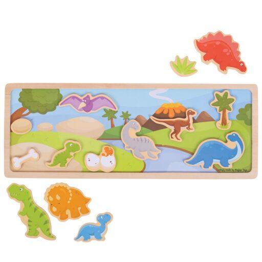 Bigjigs Toys magnetické puzzle dinosauři