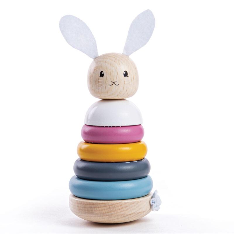 Bigjigs Baby Dřevěná motorická nasazovací věž králíček