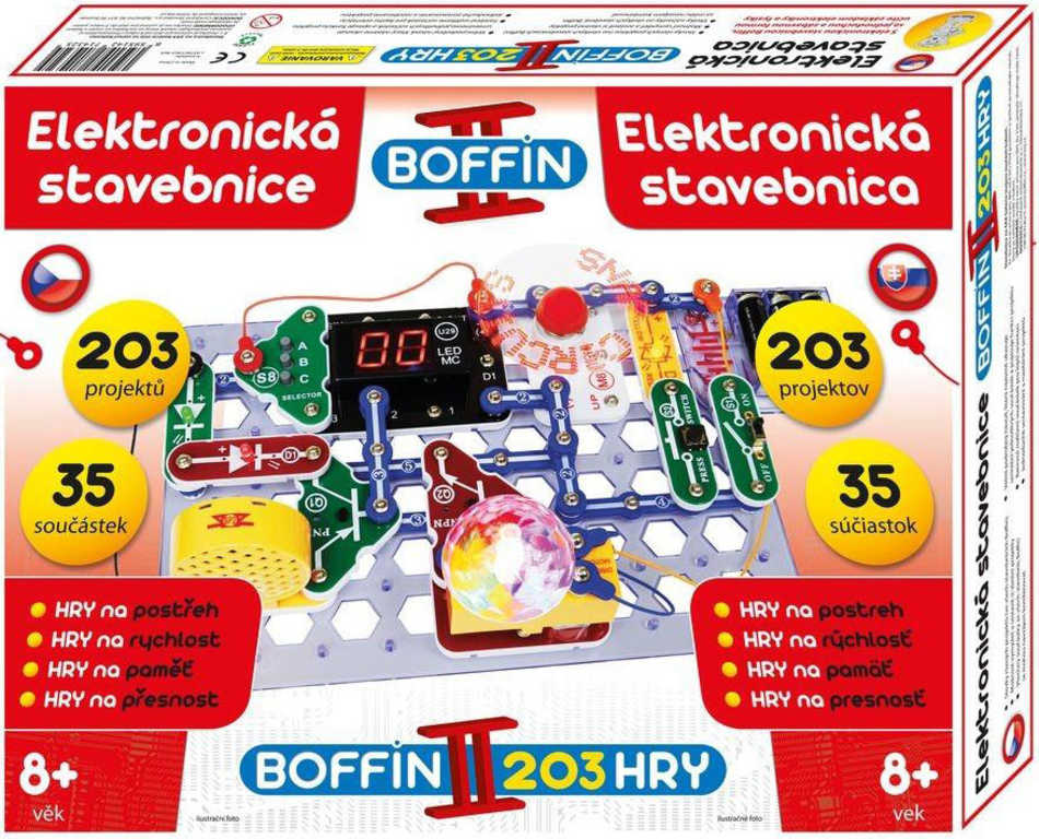 Boffin II. HRY 203 projektů 35 součástek na baterie elektronická STAVEBNICE