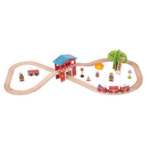Bigjigs Rail Dřevěná vláčkodráha hasičská stanice