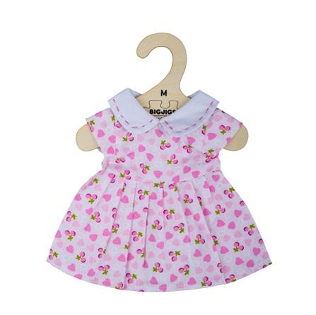 Bigjigs Toys Růžové šaty se srdíčky pro panenku 34 cm