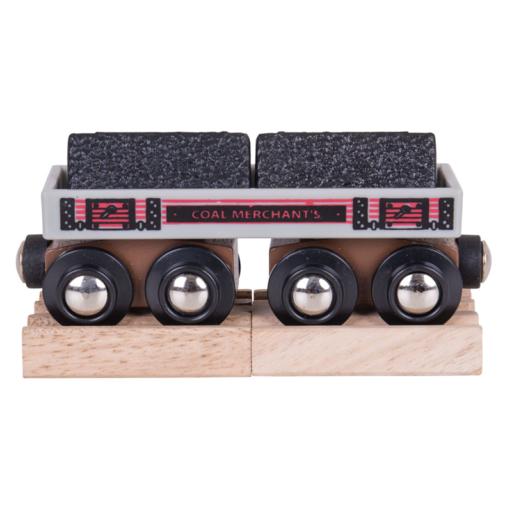 Bigjigs Rail Dlouhý vagónek s uhlím + 2 koleje poškozený obal