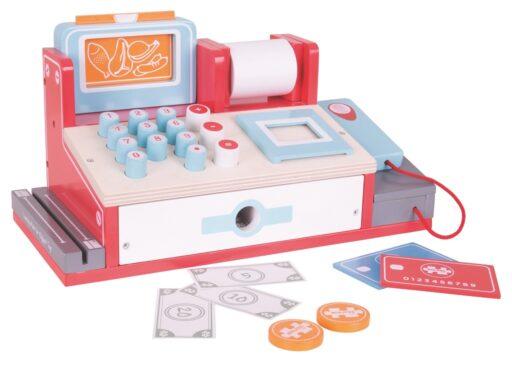 Bigjigs Toys Dřevěná pokladna červená