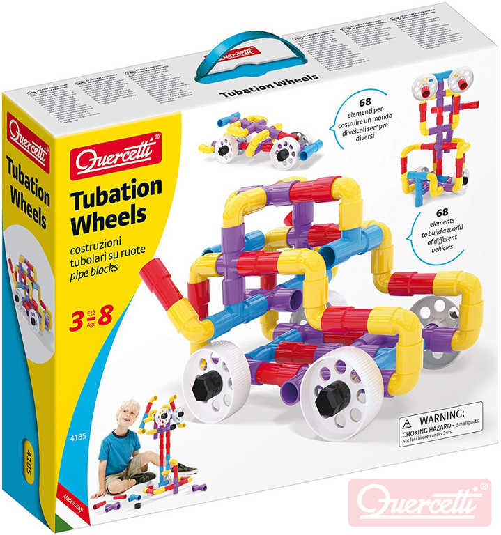 QUERCETTI Tubation Wheels 3D potrubí a kola 68 dílků STAVEBNICE