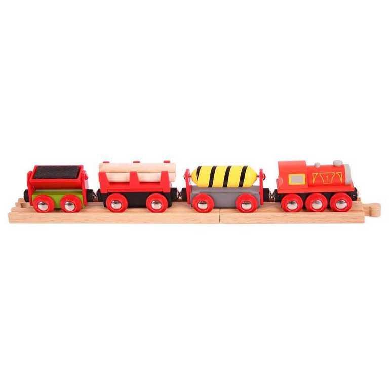 Bigjigs Rail Nákladní vlak červený + 3 koleje