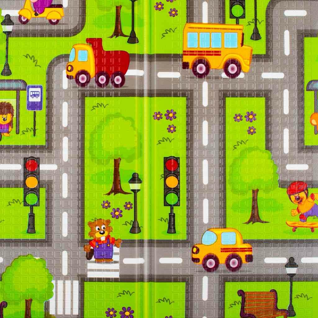 Multifunkční skládací hrací podložka PlayTo Cesta - zelená
