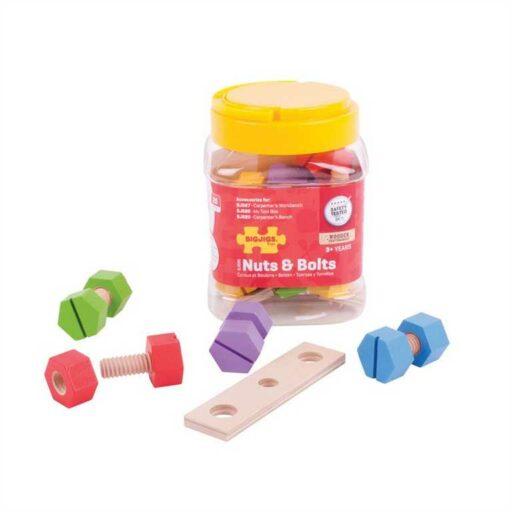 Bigjigs Toys Dřevěný spojovací materiál v dóze