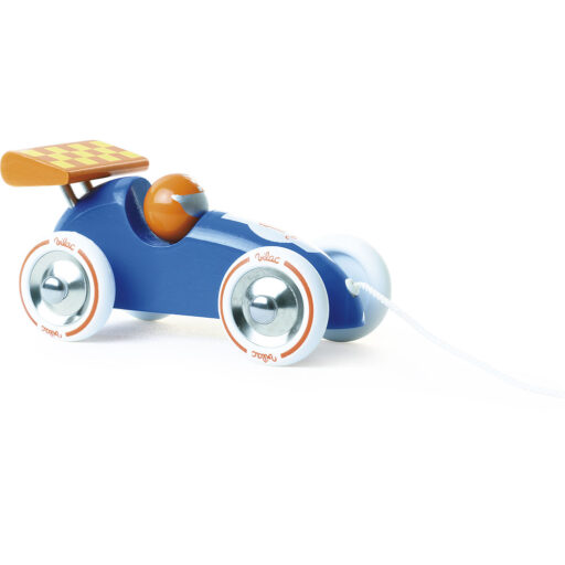 Vilac Tahací závodní auto modré s oranžovým křídlem