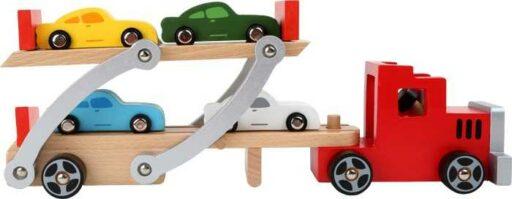 Dřevěný kamión s auty