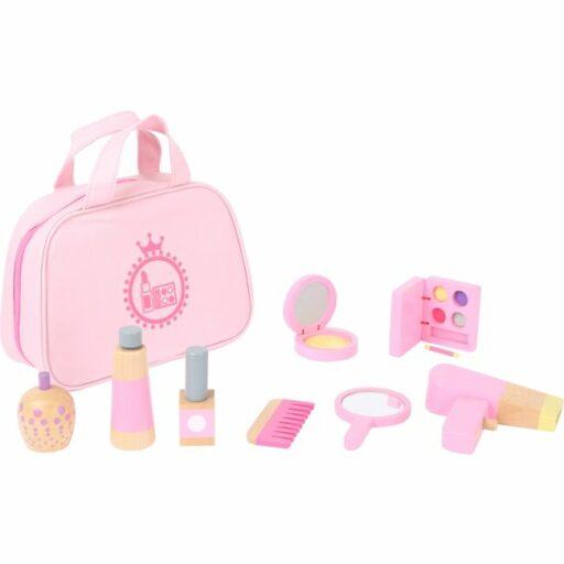 Small Foot Dětská kosmetická taštička růžová s dřevěnými doplňky poškozený obal