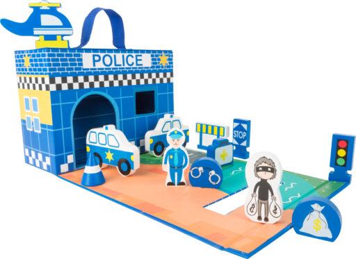 Small Foot Dřevěná policejní stanice v kufříku