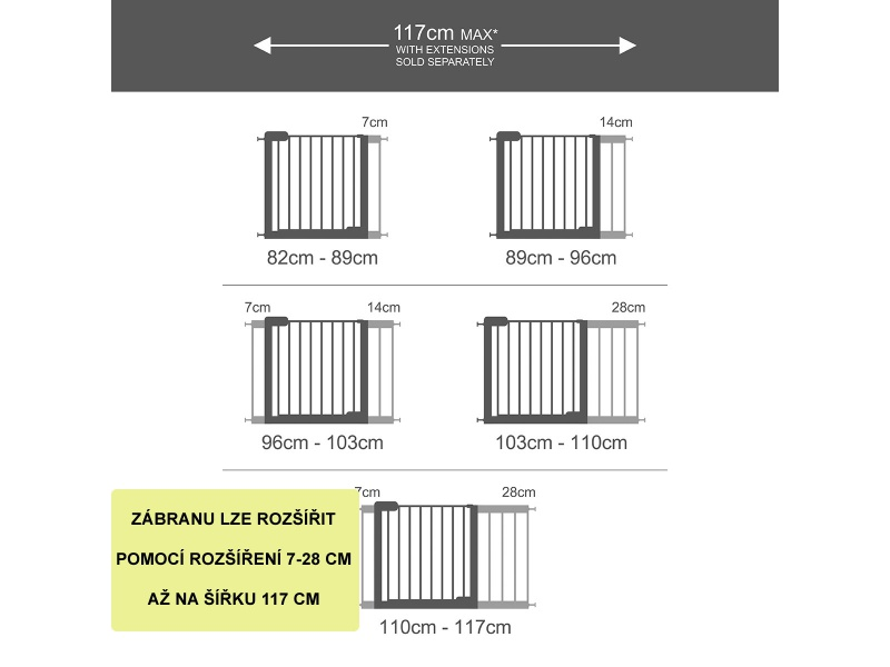 Lindam - Rozšíření dětské zábrany SS a Easy fit 14 cm-b