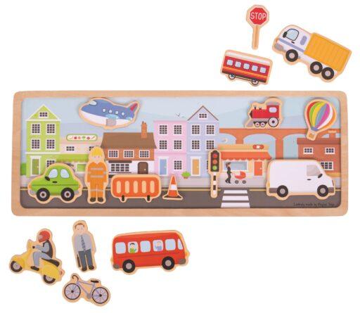 Bigjigs Toys magnetické puzzle město