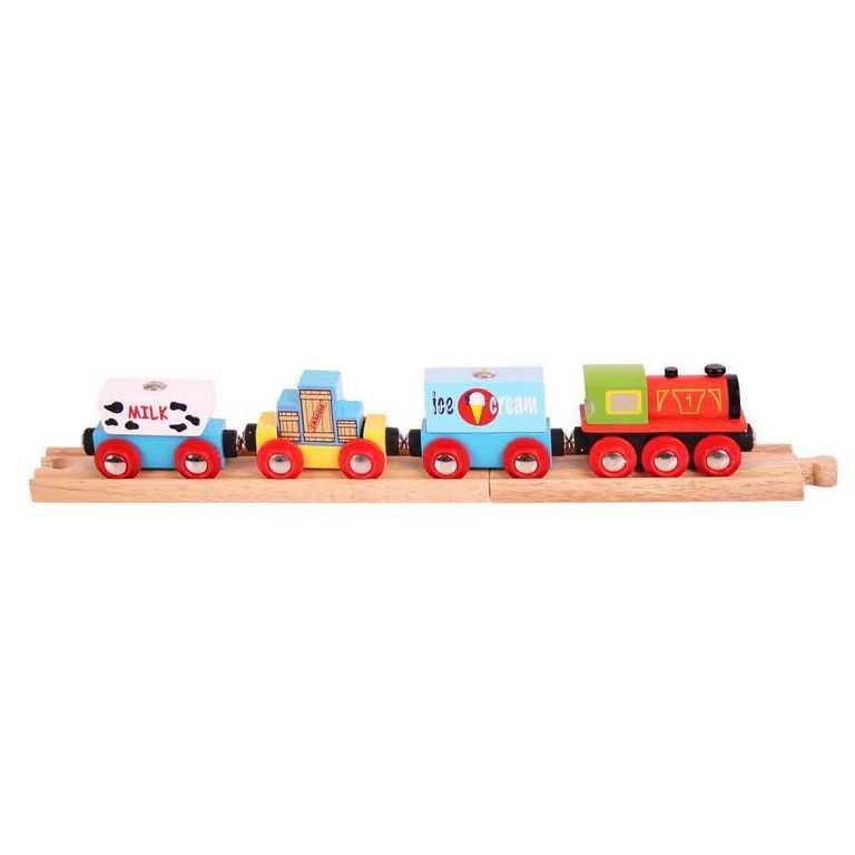 Bigjigs Rail Vlak se zbožím + 3 koleje