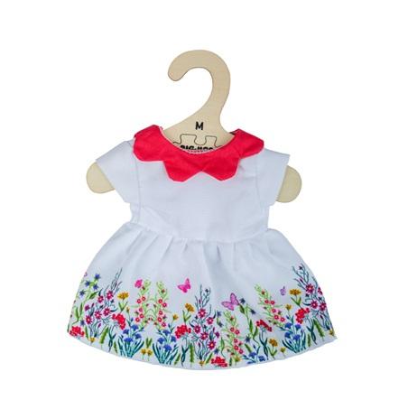 Bigjigs Toys Bílé květinové šaty s červeným límečkem pro panenku 34 cm