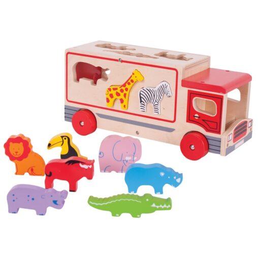 Bigjigs Toys Dřevěné auto se zvířátky safari