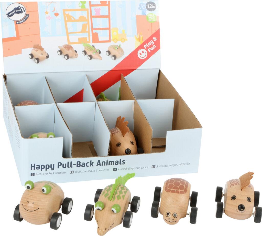 Small Foot Displej dřevěné zvířátkové autíčko 8ks