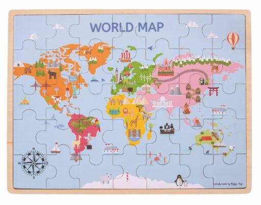 Bigjigs Toys Dřevěná puzzle mapa světa