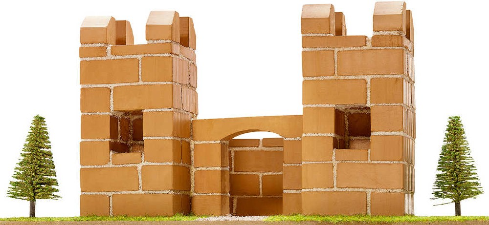 TEIFOC Stavebnice Hrádek set 120 dílků pálené cihličky v krabici