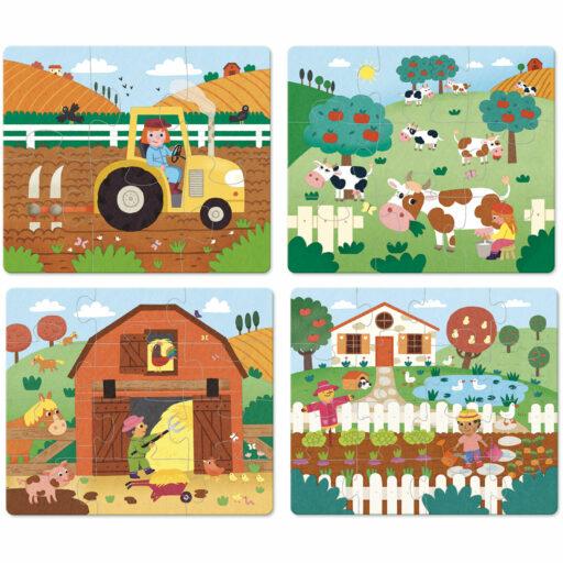 Vilac Dřevěné puzzle Farma 4v1