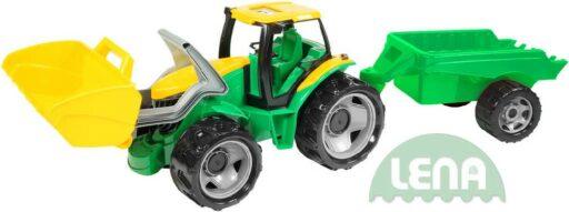LENA Traktor plastový zelený set se lžící a přívěsem 110cm v krabici