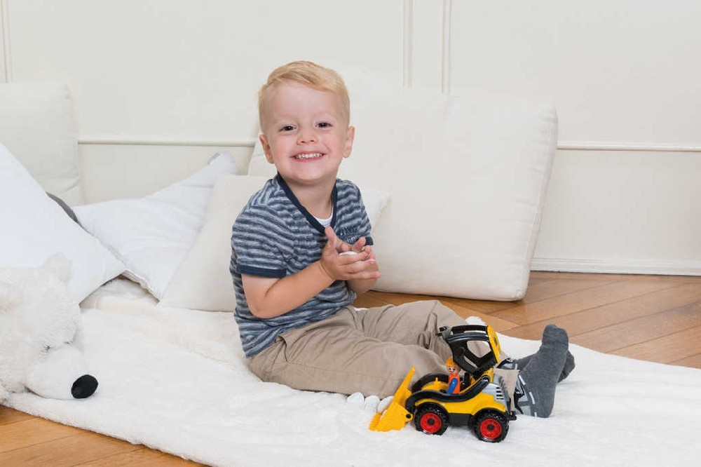 LENA Truckies nakladač 20cm set baby autíčko + panáček 01622 plast