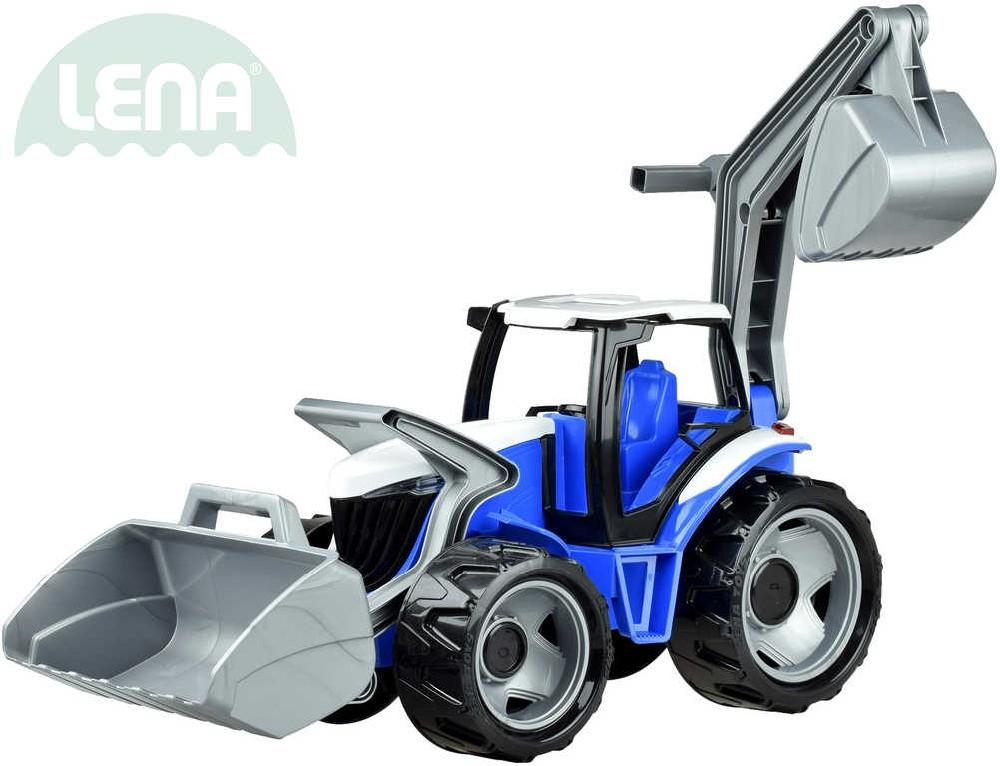 LENA Traktor se lžící a bagrem 107cm modro-šedý plast 02081