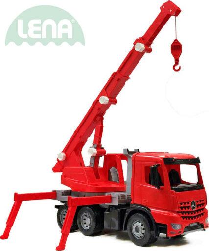 LENA Auto jeřáb Mercedes Arocs 70cm funkční červený plast