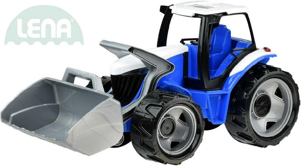 LENA Traktor se lžící 69cm modro-šedý plast 02055