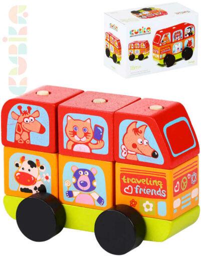 CUBIKA DŘEVO Baby Minibus šťastná zvířátka navlékací stavebnice set 7 dílků