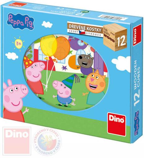 DINO DŘEVO Kostky obrázkové Peppa Pig set 12ks kubus *DŘEVĚNÉ HRAČKY*