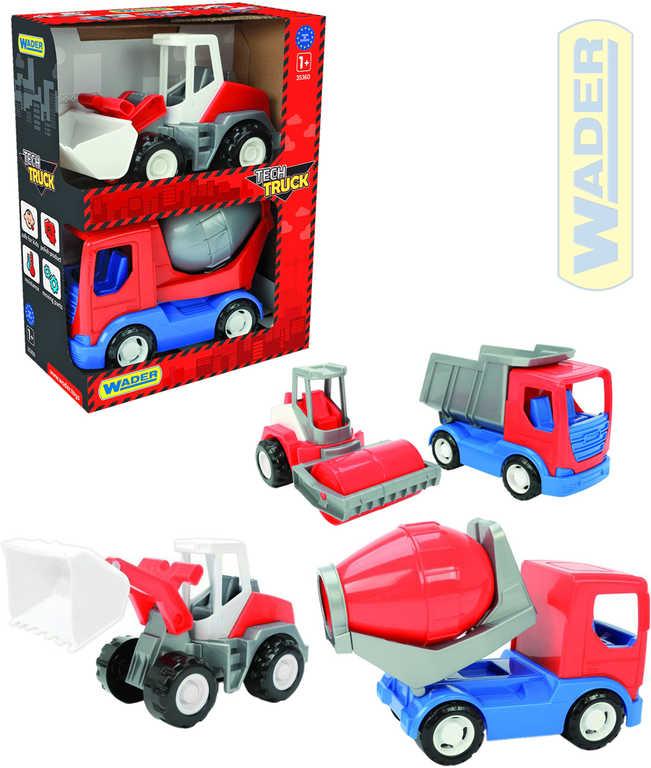 WADER Tech Truck auto stavební set 2ks 23cm 3 druhy 2v1 plast 35370
