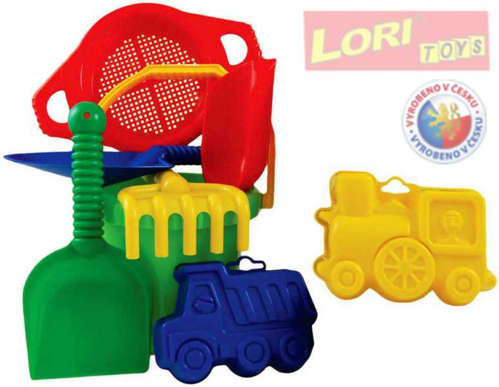 LORI 219 Kyblík se sítkem a bábovičkami plastový set na písek