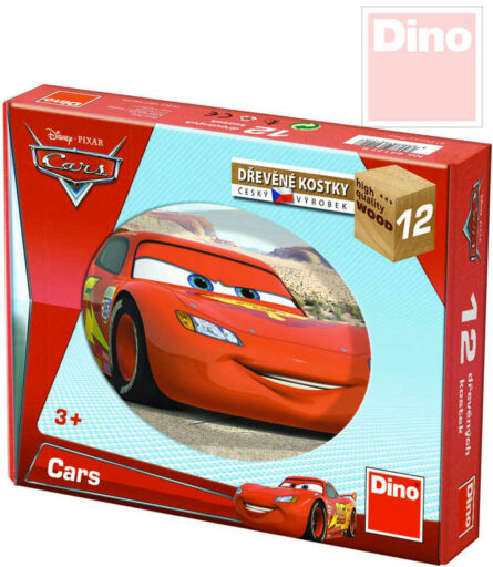DINO DŘEVO Kostky dětské set 12ks Auta ve světě (Cars)