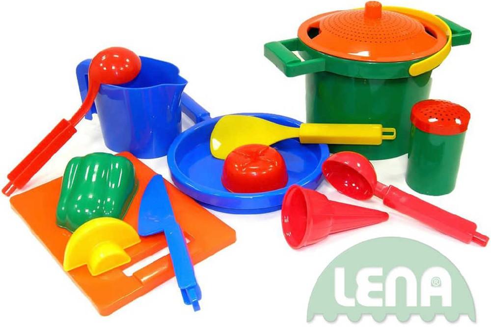 LENA Set kuchyňský plastový na vaření 14 dílů na písek