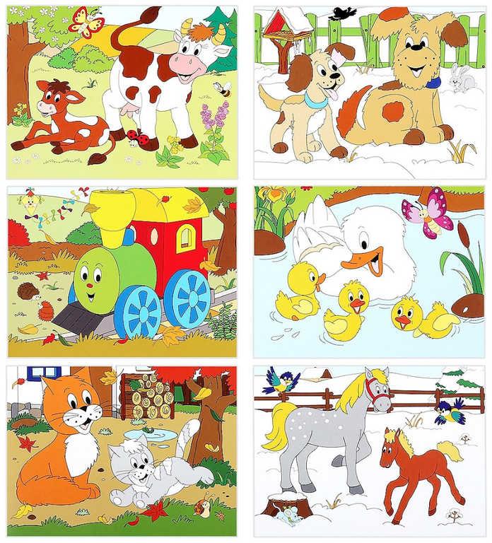 WOODY DŘEVO Kubus 3x4 roční období zvířátka obrázkové kostky set 12ks