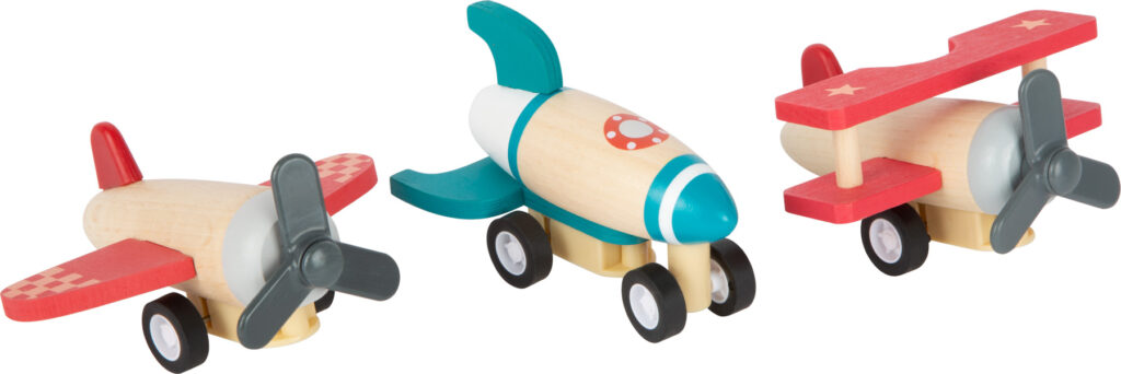 Small Foot Dřevěné natahovací letadla sada 3 ks