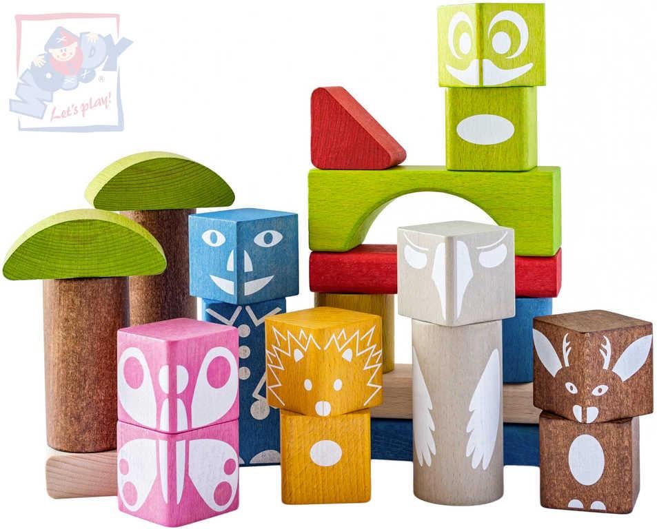 WOODY DŘEVO Baby kostky barevné s potiskem set 26ks STAVEBNICE