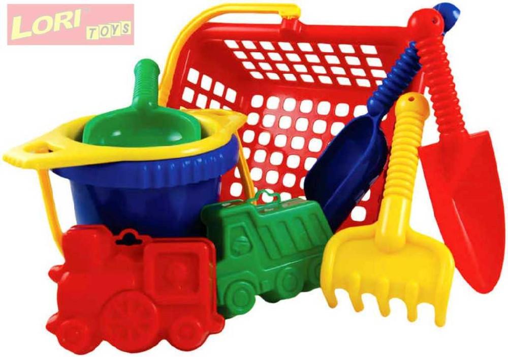 LORI 234 Sada velká plastová na písek v košíku 29cm různé barvy