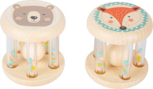 Small Foot Dětské pastelové chrastítko s kuličkami sada 2ks