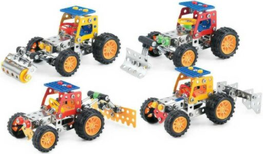 Stavebnice typu Merkur kovová Malý mechanik Traktor zemědělský 4 druhy