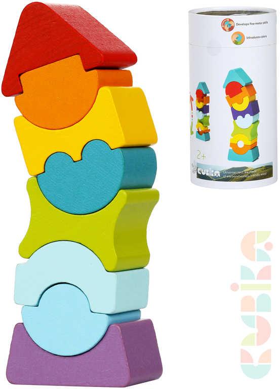 CUBIKA DŘEVO Baby stavebnice Věž balanční set 8 dílků kostky pro miminko