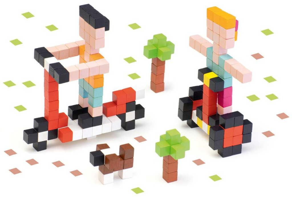 CUBIKA DŘEVO Pixel Stavebnice 3D Rychlá kola 200 dílků 1x1cm