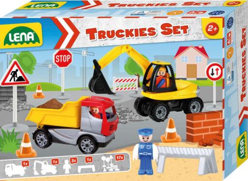 LENA Baby Truckies Stavba set 2 autíčka s figurkami a dopravním značením
